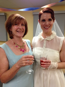 Susan (Mom of the Bride) and Morgen getting their pre-drink on.