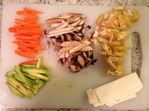 Carrot, Mushroom, Avocado, Cream Cheese, Fried Soya Cake