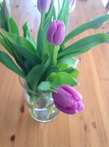Every girl should buy herself flowers once and a while. Purple tulips are lovely.